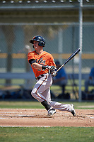 Baltimore Orioles Frank Crinella (29) follows through on a swing during a minor league Spring Training game against the Tampa Bay Rays on March 29, 2017 at the Buck O'Neil Baseball Complex in Sarasota, Florida.  (Mike Janes/Four Seam Images)