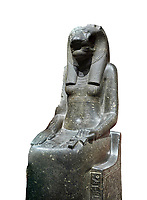 "Ancient Egyptian statue of goddess Sekhmet, grandodiorite, New Kingdom, 18th & 20thDynasty (1390-1150 BC), Thebes. Egyptian Museum, Turin. white background.<br /> <br /> In this statue of Sekhmet the goddess is called ""mistress of Shenut"" possibly linking her to the lioness goddess Repyt of Anthribis.  Sekhmet, ""the Powerful One"" was a fearsome goddess symbolised by her lioness head. Daughter of the sun she personifies the disk of the world during the day. Sekhmet is the angry manifestation of Hathor inflicting the scourges of summer heat, famine and illness which is why the goddess needed to be exorcised every day. Drovetti Collection. C 248"