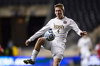 Notre Dame Fighting Irish defender Connor Miller (4). The Notre Dame Fighting Irish defeated the New Mexico Lobos 2-0 during the semifinals of the 2013 NCAA division 1 men's soccer College Cup at PPL Park in Chester, PA, on December 13, 2013.
