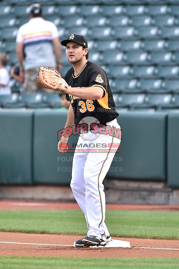 Ryan Wheeler (36) of the Salt Lake Bees during the game against the El Paso Chihuahuas in Pacific Coast League action at Smith's Ballpark on August 7, 2014 in Salt Lake City, Utah.  (Stephen Smith/Four Seam Images)