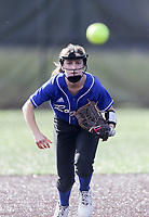 Rogers second baseman Amelia Haak (11) prepares to make a catch, Thursday, April 29, 2021 during a softball game at Bentonville High School in Bentonville. Check out nwaonline.com/210430Daily/ for today's photo gallery. <br /> (NWA Democrat-Gazette/Charlie Kaijo)