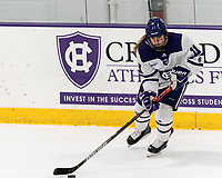 WORCESTER, MA - FEBRUARY 08: Sommer Ross #11 of Holy Cross looks to pass during a game between Boston University and College of the Holy Cross at Hart Center Rink on February 08, 2020 in Worcester, Massachusetts.