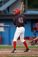 Batavia Muckdogs center fielder Brayan Hernandez (41) at bat during a game against the Auburn Doubledays on August 26, 2017 at Dwyer Stadium in Batavia, New York.  Batavia defeated Auburn 5-4.  (Mike Janes/Four Seam Images)
