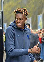 Tammy Abraham of Chelsea (9) arriving on the coach at the Premier League match between Brighton and Hove Albion and Chelsea at the American Express Community Stadium, Brighton and Hove, England on 1 January 2020. Photo by Edward Thomas / PRiME Media Images.