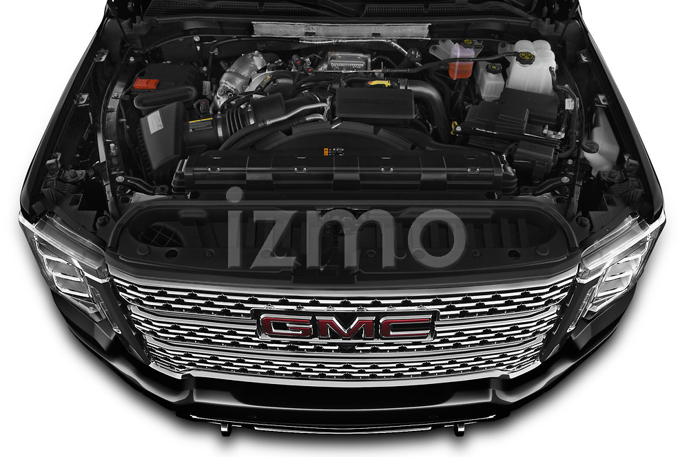Car Stock 2020 GMC Sierra Denali 4 Door Pick-up Engine  high angle detail view