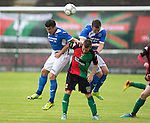 Glentoran v St Johnstone…. 09.07.16  The Oval, Belfast  Pre-Season Friendly<br />Michael Coulson and Tam Scobbie get above Kris Gaw<br />Picture by Graeme Hart.<br />Copyright Perthshire Picture Agency<br />Tel: 01738 623350  Mobile: 07990 594431