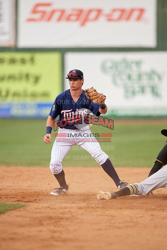 Elizabethton Twins second baseman Michael Helman (13) during a game against the Bristol Pirates on July 29, 2018 at Joe O'Brien Field in Elizabethton, Tennessee.  Bristol defeated Elizabethton 7-4.  (Mike Janes/Four Seam Images)
