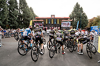 Team Mitchelton-Scott awaiting their podium-turn at the race start in Clermont-Ferrand<br /> <br /> Stage 1: Clermont-Ferrand to Saint-Christo-en-Jarez (218km)<br /> 72st Critérium du Dauphiné 2020 (2.UWT)<br /> <br /> ©kramon