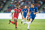 Bayern Munich Forward Kingsley Coman (L) plays against Chelsea Defender Marcos Alonso (R) during the International Champions Cup match between Chelsea FC and FC Bayern Munich at National Stadium on July 25, 2017 in Singapore. Photo by Weixiang Lim / Power Sport Images