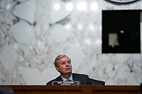 United States Senator Lindsey Graham (Republican of South  Carolina), Chairman, US Senate Judiciary Committee speaks during a business meeting portion on the fourth day of the confirmation hearing for Judge Amy Coney Barrett, President Donald Trump's Nominee for Supreme Court, in Hart Senate Office Building in Washington DC, on October 15th, 2020.<br /> Credit: Anna Moneymaker / Pool via CNP /MediaPunch