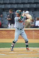 JP Gates (10) of the Miami Hurricanes at bat against the Wake Forest Demon Deacons at David F. Couch Ballpark on May 11, 2019 in  Winston-Salem, North Carolina. The Hurricanes defeated the Demon Deacons 8-4. (Brian Westerholt/Four Seam Images)