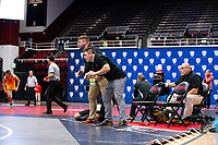 STANFORD, CA - March 7, 2020: Assistant Coaches Taylor Meeks and Ian Miller of Oregon State University during the 2020 Pac-12 Wrestling Championships at Maples Pavilion.