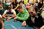 """PS Team Pros Daniel Negreanu and Bertrand """"ElkY"""" Grospellier are seated at the same table on Day 2."""