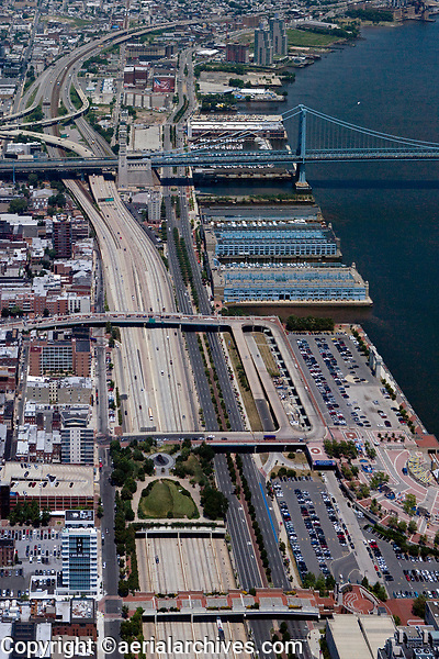 aerial photograph of Interstate I-95, the Delaware River waterfront and the Ben Franklin Bridge, Philadelphia, Pennsylvania