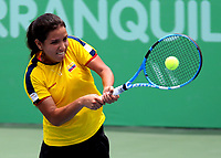BARRANQUILLA - COLOMBIA, 02-08-2018: María Osorio, de Colombia, durante su participación en la Tenis Copa Naciones Femenino, en el Parque de las Raquetas, como parte de los Juegos Centroamericanos y del Caribe Barranquilla 2018. / María Osorio, from Colombia, during its participation in the Women's Nations Cup Tennis, in the Park of the Rackets, as part of the Central American and Caribbean Games of Barranquilla 2018.Photo: VizzorImage / Cont.