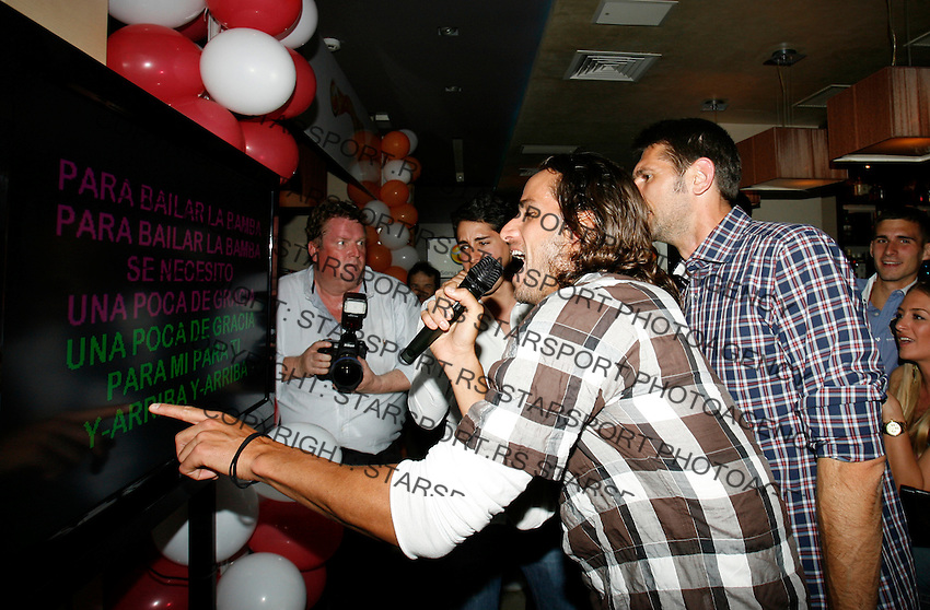 "Feliciano Lopez,  Nikola Loncar, Players Party, Novak restaurant, ATP 250 series tennis tournament ""Serbia Open"" in Belgrade, Serbia, Tuesday, April 26. 2011. (photo: Pedja Milosavljevic / SIPA PRESS)"