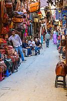 Fes, Morocco.  Street Scene in the Medina.
