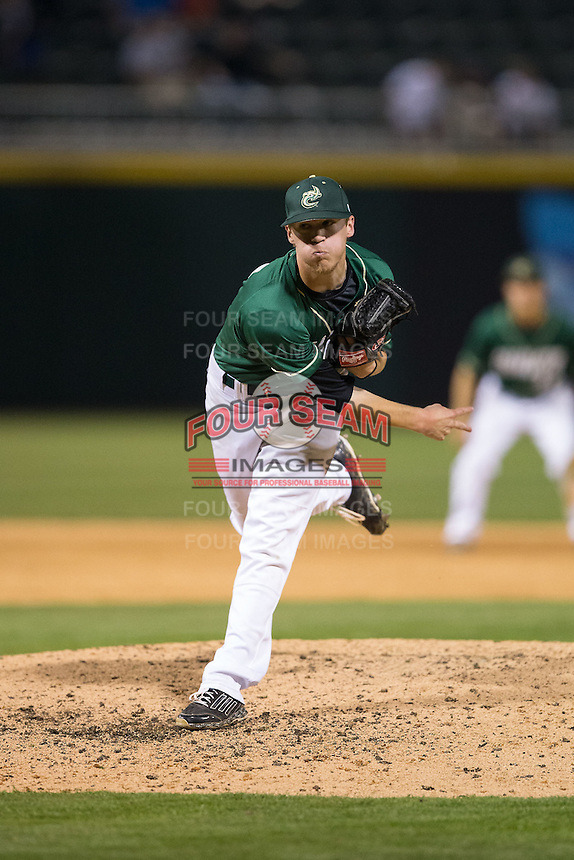Charlotte 49ers relief pitcher Micah Wells (21) in action against the North Carolina State Wolfpack at BB&T Ballpark on March 31, 2015 in Charlotte, North Carolina.  The Wolfpack defeated the 49ers 10-6.  (Brian Westerholt/Four Seam Images)
