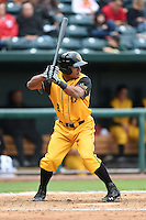 Jacksonville Suns  outfielder Angel Morales (8) at bat during a game against the Pensacola Blue Wahoos on April 20, 2014 at Bragan Field in Jacksonville, Florida.  Jacksonville defeated Pensacola 5-4.  (Mike Janes/Four Seam Images)