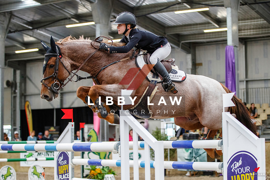NZL-Briar Burnett-Grant rides Fiber Fresh Veraona. Final-3rd. Class 29: Fiber Fresh Horse 1.40m-1.45m 10K - FINAL. 2021 NZL-Easter Jumping Festival presented by McIntosh Global Equestrian and Equestrian Entries. NEC Taupo. Sunday 4 April. Copyright Photo: Libby Law Photography