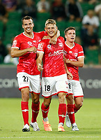 18th April 2021; HBF Park, Perth, Western Australia, Australia; A League Football, Perth Glory versus Wellington Phoenix; Benjamin Waine of Wellington Phoenix celebrates his 56th minute goal with Steven Taylor and Cameron Devlin for 0-1