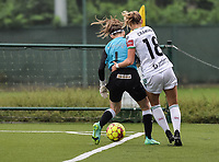 goalkeeper Kirsten Foucart (1) of Eendracht Aalst battles for the ball with Charlotte Cranshoff (18) of OH Leuven pictured during a female soccer game between Oud Heverlee Leuven and Eendracht Aalst on the second matchday of the 2021 - 2022 season of Belgian Womens Super League , sunday 29 nd of August 2021  in Heverlee , Belgium . PHOTO SPORTPIX.BE   JILL DELSAUX