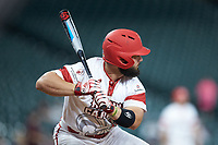 Louisiana Ragin' Cajuns pinch-hitter Monroe Moll (13) at bat against the Mississippi State Bulldogs in game three of the 2018 Shriners Hospitals for Children College Classic at Minute Maid Park on March 2, 2018 in Houston, Texas.  The Bulldogs defeated the Ragin' Cajuns 3-1.   (Brian Westerholt/Four Seam Images)