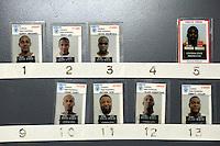 USA. Angola. 21st April 2008..Mugshots of inmates at the entrance to Death Row..©Andrew Testa