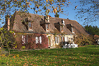 The main farm house on the property in traditional Dordogne style. Ferme de Biorne duck and fowl farm Dordogne France