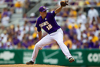 LSU Tigers pitcher Kevin Gausman #12 delivers a pitch during the NCAA Super Regional baseball game against Stony Brook on June 9, 2012 at Alex Box Stadium in Baton Rouge, Louisiana. Stony Brook defeated LSU 3-1. (Andrew Woolley/Four Seam Images)