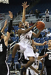 Agassi Prep's Terell Kemp takes a shot during the NIAA 2A State Basketball Championship game between West Wendover and Agassi Prep high schools at Lawlor Events Center, in Reno, Nev, on Saturday, Feb. 25, 2012. West Wendover won 69-68..Photo by Cathleen Allison