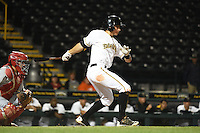 Bradenton Marauders shortstop Max Moroff (31) during a game against the Palm Beach Cardinals on April 8, 2014 at McKechnie Field in Bradenton, Florida.  Bradenton defeated Palm Beach 4-3.  (Mike Janes/Four Seam Images)