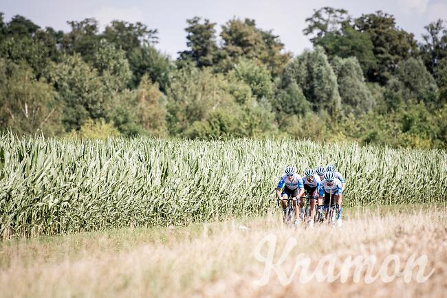 at Carrefour de l'arbre<br /> <br /> reconnaissance of the (delayed, due to the Covid19 pandemic) Paris-Roubaix course by Team Israel - StartUp Nation <br /> <br /> Nord-Pas de Calais region (FRA), 17 july 2020<br /> ©kramon