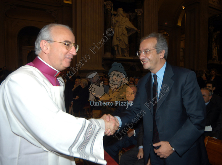 MONSIGNOR FRANCO CAMALDO CON WALTER VELTRONI<br /> MESSA DI RINGRAZIAMENTO PER I 50 ANNI DI SACERDOZIO DEL CARDINAL CAMILLO RUINI - SAN GIOVANNI IN LATERANO ROMA 2004