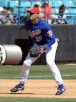 April 1, 2004:  Third baseman Andy Fox of the Montreal Expos (Washington Nationals) organization during Spring Training at Osceola County Stadium in Kissimmee, FL.  Photo copyright Mike Janes/Four Seam Images