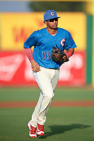 Clearwater Threshers second baseman Raul Rivas (13) during a game against the Fort Myers Miracle on May 31, 2018 at Spectrum Field in Clearwater, Florida.  Clearwater defeated Fort Myers 5-1.  (Mike Janes/Four Seam Images)