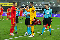 SWANSEA, WALES - NOVEMBER 12: Zack Steffen #1 of the United States coin toss during a game between Wales and USMNT at Liberty Stadium on November 12, 2020 in Swansea, Wales.