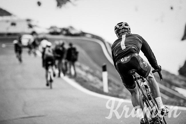 Vasil Kiryienka (BLR/SKY) descending the Passo dello Stelvio (alt: 2758m) while spectators/fans up the mountain are already descending it too on their bikes<br /> <br /> Stage 16: Rovett › Bormio (222km)<br /> 100th Giro d'Italia 2017