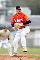 Illinois Fighting Illini pitcher Kevin Johnson #22 delivers a pitch during a game against the Notre Dame Fighting Irish at the Big Ten/Big East Challenge at Walter Fuller Complex on February 17, 2012 in St. Petersburg, Florida.  (Mike Janes/Four Seam Images)