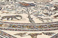 Volubilis, Morocco.  Roman Mosaics in the House of Orpheus.  Orpheus in the Middle, Playing the Lyre.