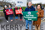Kerry College of Further Education Clash Campus on strike on Tuesday.<br /> Front l to r: John Skinner and Mary Lucey (TUI Member)<br /> Back l to r: Lisa McKenna, Joanne Roche, Eileen Canty and Dorothy Byrne