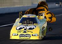 Nov 9, 2013; Pomona, CA, USA; NHRA funny car driver Jeff Arend during qualifying for the Auto Club Finals at Auto Club Raceway at Pomona. Mandatory Credit: Mark J. Rebilas-