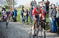 Jurgen Roelandts (BEL/Lotto-Soudal) over the cobbles of the Oude Kwaremont<br /> <br /> 58th E3 Harelbeke 2015
