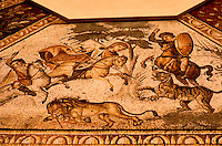 Roman Art: Mosaic--Floor, Antioch, 4th Century, Scenes of the Hunt.  Louvre.