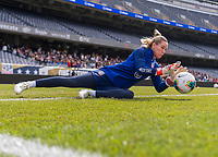 CHICAGO, IL - OCTOBER 5: Ashlyn Harris #18 of the United States makes a save at Soldier Field on October 5, 2019 in Chicago, Illinois.