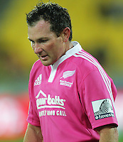 Referee Glen Jackson oversees a scrum during the Super 15 rugby match between the Hurricanes and Blues at Westpac Stadium, Wellington, New Zealand on Saturday, 23 February 2013. Photo: Dave Lintott / lintottphoto.co.nz