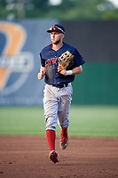 Lowell Spinners center fielder Cole Brannen (18) jogs to the dugout during a game against the Auburn Doubledays on July 13, 2018 at Falcon Park in Auburn, New York.  Lowell defeated Auburn 8-5.  (Mike Janes/Four Seam Images)