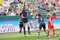 Allison Faulk #7 of the Los Angeles Sol celebrates scoring the first goal in WPS history against the Washington Freedom during their inaugural match at Home Depot Center on March 29, 2009 in Carson, California.