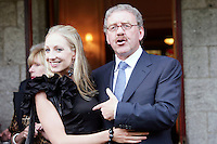 22/6/10 Michael Colgan with his daughter Sarah, before he recieves his OBE from Ambassador Julian King at the British Amabassador's residence at Glencairn House in Sandyford, Dublin. Arthur Carron/Collins