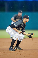 Army Black Knights third baseman Anthony Giachin (1) on defense against the Auburn Tigers at Doak Field at Dail Park on June 2, 2018 in Raleigh, North Carolina. The Tigers defeated the Black Knights 12-1. (Brian Westerholt/Four Seam Images)